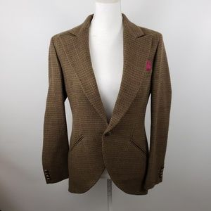 Ralph lauren wool plaid blazer jacket black label
